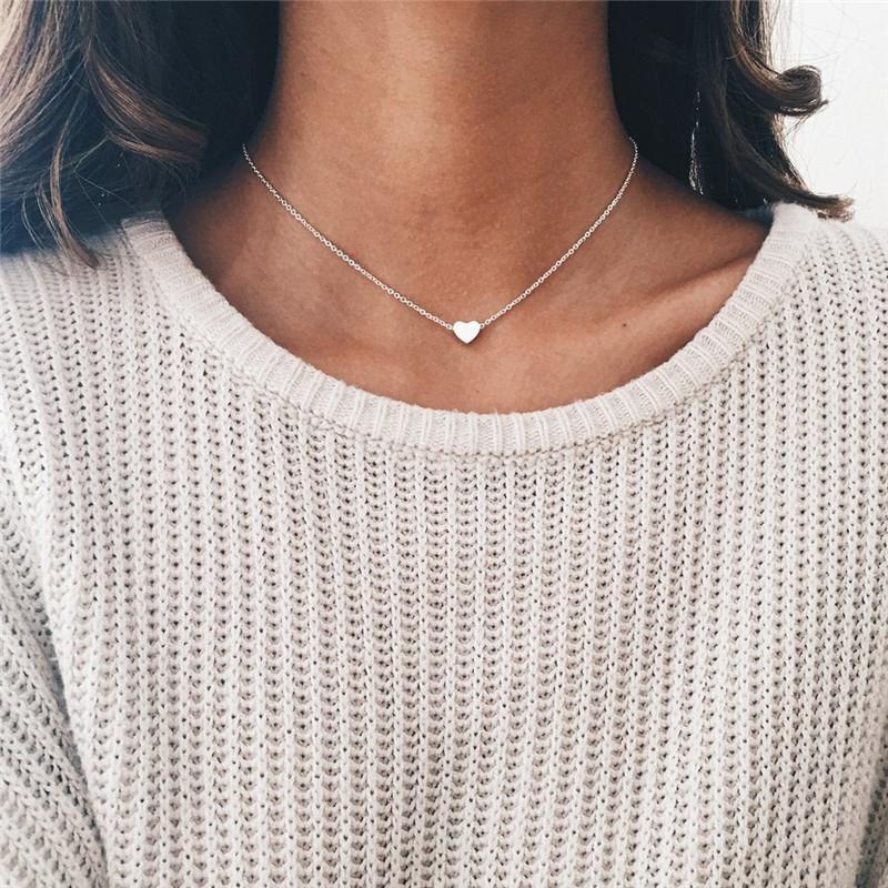Modyle Kadın Kolye Romantik Alaşım Kalpler Kolye Kolye Basit Altın Gümüş Renk Kadın Metal Zincirleri Kolyeler