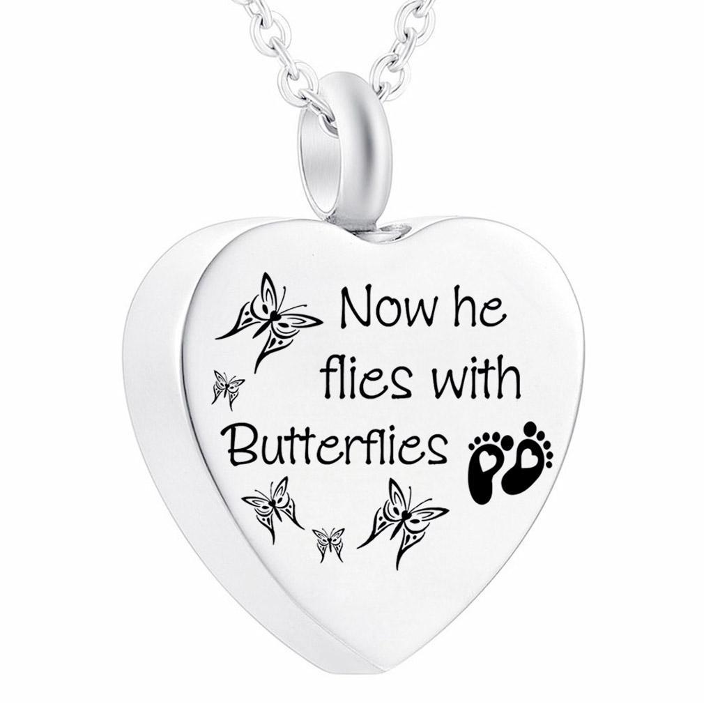 Unisex de alta calidad de la mariposa colgante de acero inoxidable encanto de cenizas de la cremación joyería Jar funeraria para PET / Humano Con el kit de relleno