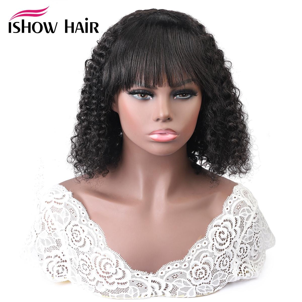 Ishow Brazilian Kinky Curly Bob Wigs Human Hair Wigs with Bangs Machine Made Wigs Peruvian Deep Curly Wave None Lace Wig Indian Malaysian