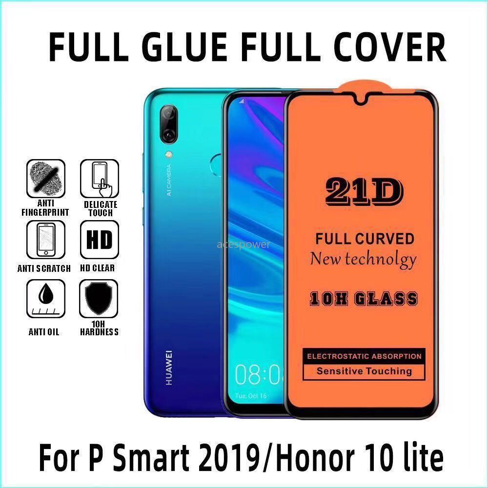 21D pleine couverture en verre trempé pour Iphone 11 Pro Max Xr X X Samsung Galaxy A20S A10 Huawei P20 Screen Protector Pro Lite Pas Package