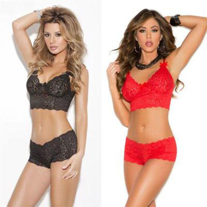 Trasparente della biancheria delle donne del merletto sexy corsetto spinge verso l'alto la maglia Top Girl Bra + Pant set di biancheria intima del vestito Hot Erotic Underwear Bar Breve