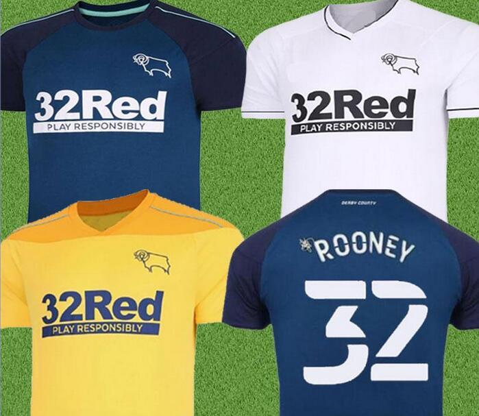Derby County Football Maillots 32 Rooney 10 LAWRENCE 9 WAGHORN 8 DOWELL 7 PATERSON personnalisé Domicile Extérieur Adulte Enfants Football Shirt Thai 2020 2021