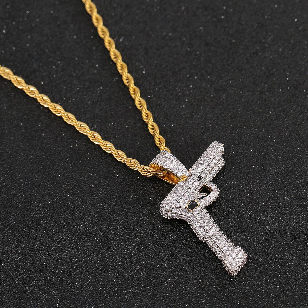 Hip Hop New Or argent couleur cuivre plaqué Glacé Micro Pavée CZ Gun collier pendentif hommes charme Bijoux