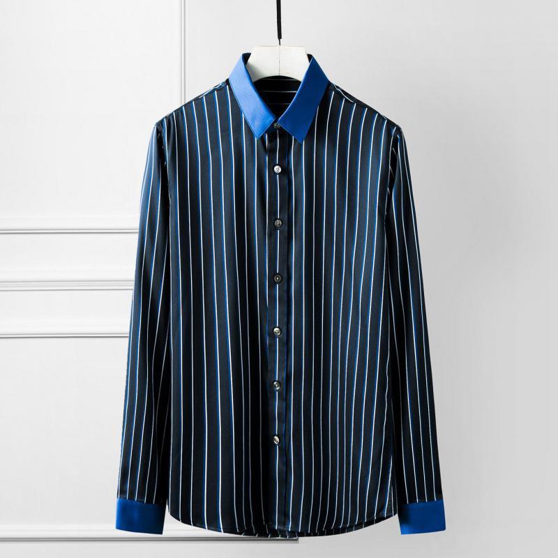 Мужские повседневные рубашки Мужская рубашка Роскошная синяя полоса с длинным рукавом для мужского платья Tencel хлопок плюс размер 4XL Slim Fit Man