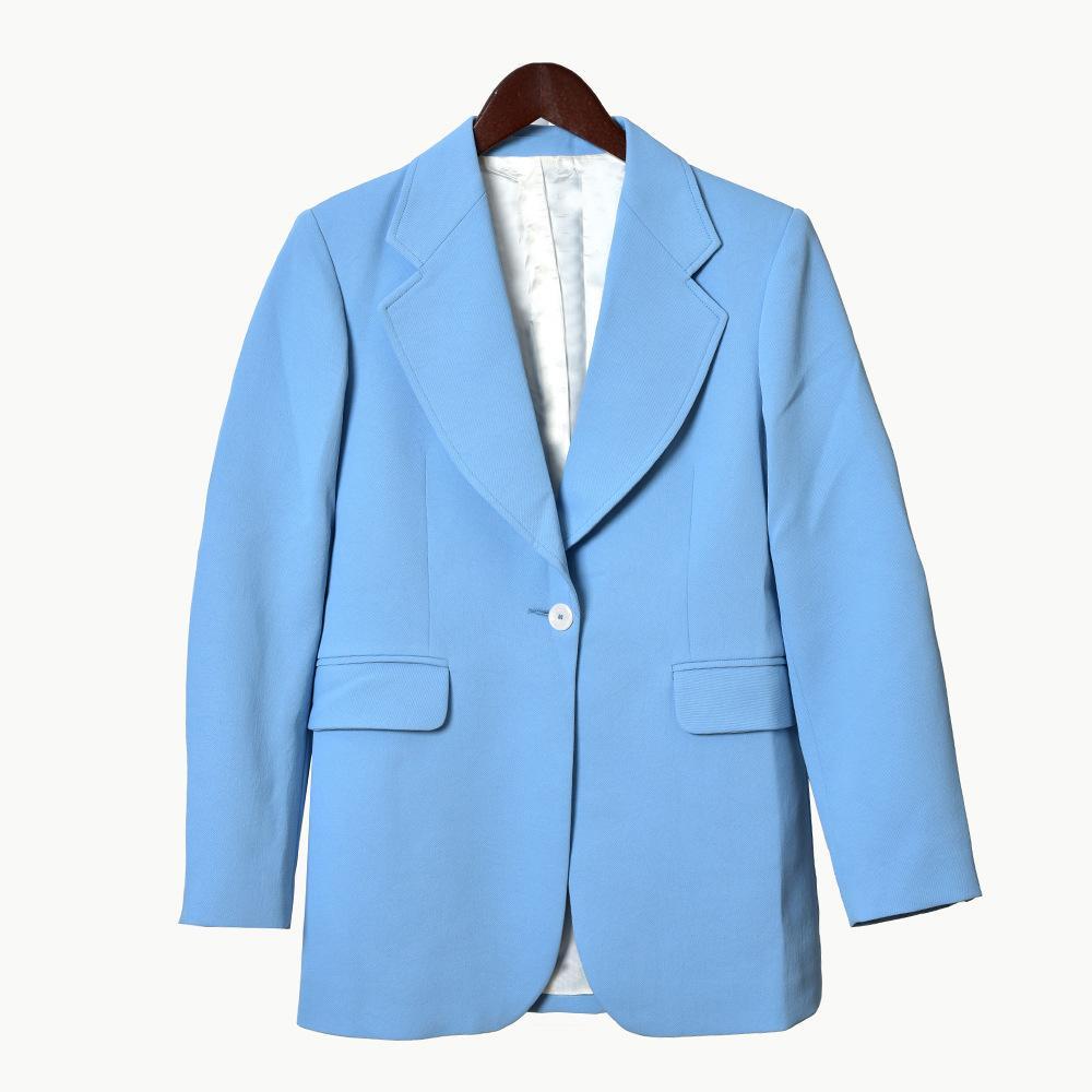 2020 Primavera de manga larga con muesca solapa del Azul-Puro Algodón Color Botones Blazers capa de las mujeres de moda Outwear las capas W1815359061