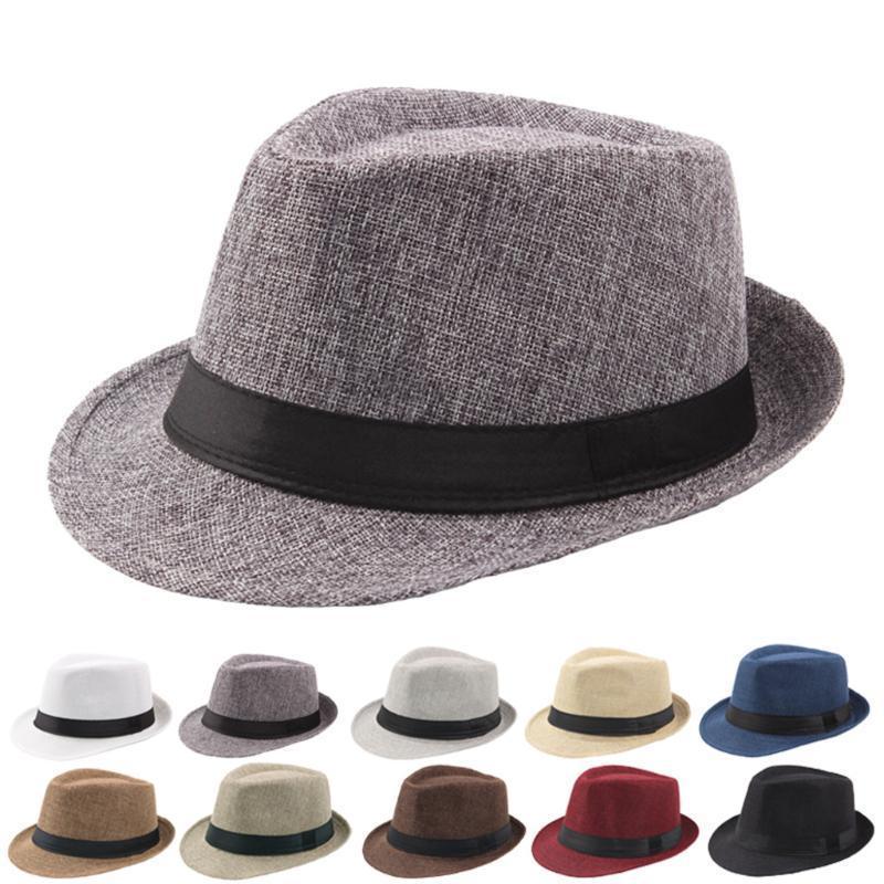 Caldo unisex delle donne degli uomini casuale di estate Trendy Beach riccio sole paglia Jazz Lino Cappello a cilindro traspirante Cappelli da cowboy Cap