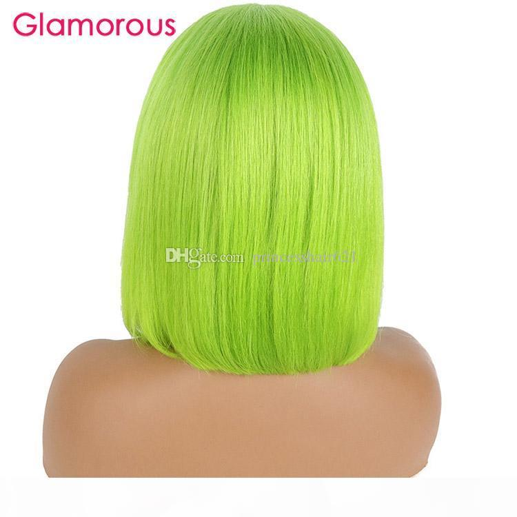 """Brazilian Remy Hair Lace Front Human Hair Wigs Wigs For Women 8"""" to 14"""" Neon Green Wig 150% density"""