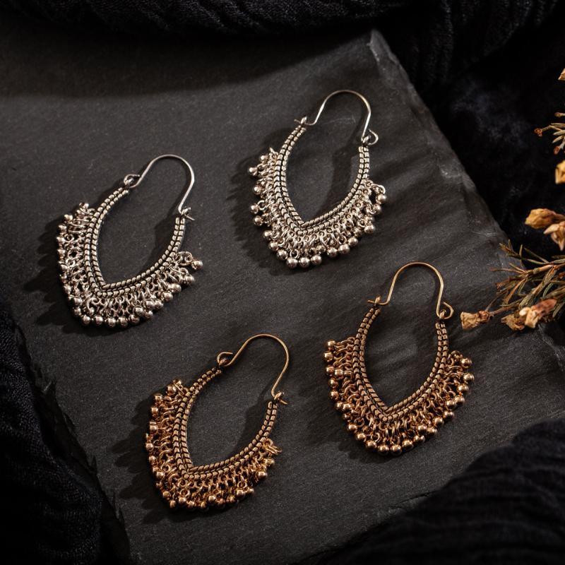 orecchini della Boemia Hollow Luna nappa donne annata della Bell di goccia orecchini per le donne etnici oro placcato ciondola l'orecchino