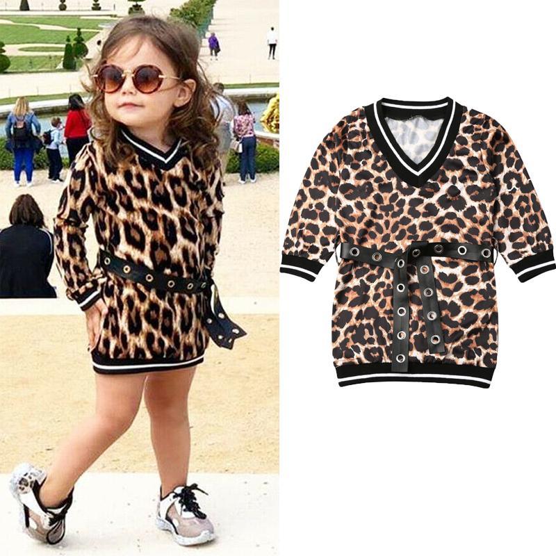1-6T Bambino sveglio Baby Dress Girl Autumn stampa del leopardo lungo del partito della cinghia del manicotto diritta Dress vestiti casuali 2020