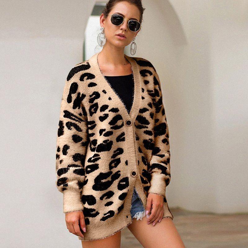 3 color del leopardo de impresión Cardigan Mujeres suéteres 2019 Otoño Invierno de punto de capas sueltas de las mujeres chaqueta de punto casual para mujeres 6iHR #