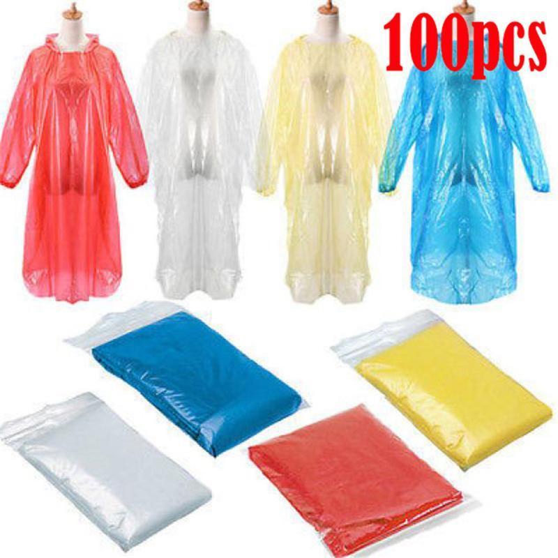 Raincoats 50 / 60 / 80100pcs 일회용 성인 유니버설 비상 방수 비옷 하이킹 캠핑 후드 야외 긴 여객 H5