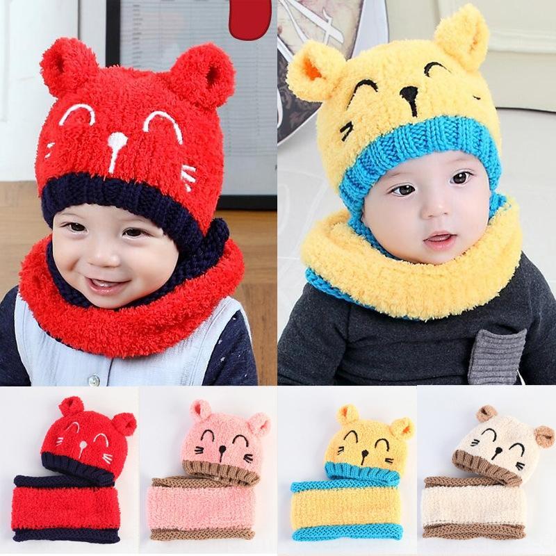 QS8oW autunno e l'inverno del cappello del bambino sciarpa peluche set di sciarpa calda cappello caldo della protezione del bambino berretto in pile gattino dei bambini
