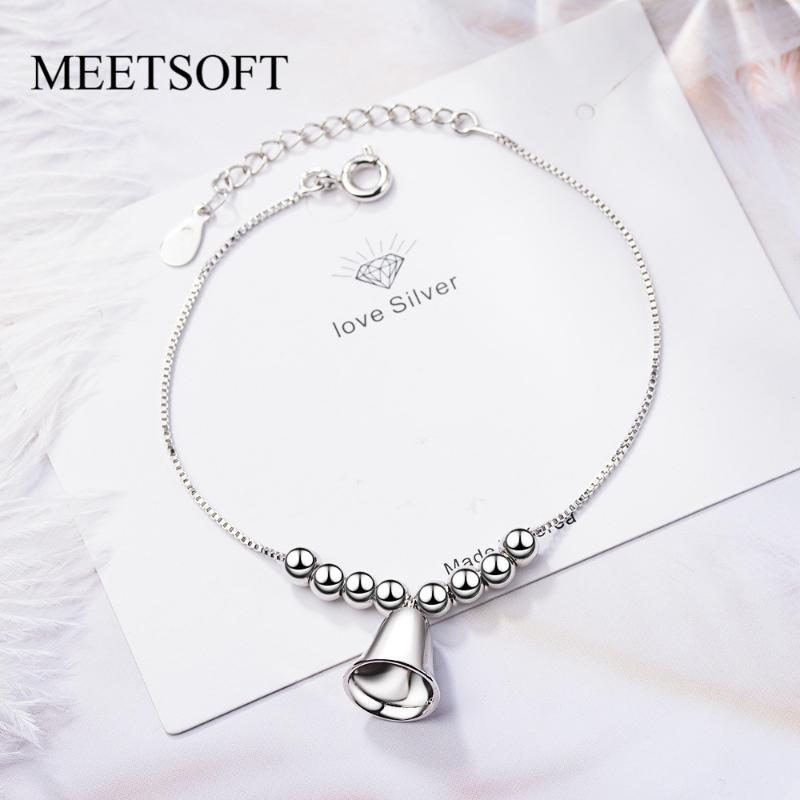 MEETSOFT New Fashion Silver Color Accessories Trendy Metal Bracelets For Women Simple Little Bell Popular Jewelry Gift