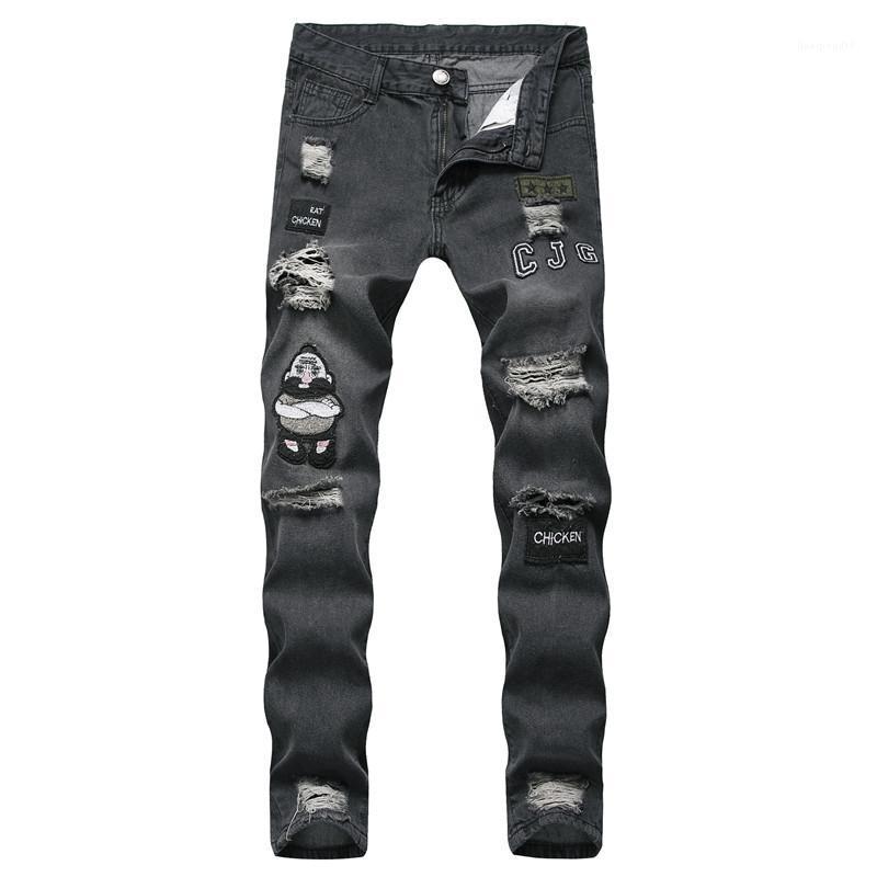 Kot Hip Hop İnce Delik Elastik Rozet Çoklu Cep Demin Pantolon Erkek Giyim Erkek 2020 Lüks Tasarımcı