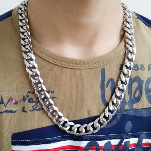 """Granny Chic 316L Stainless Steel 13/15mm Heavy Silver Color Curb Mens Cuban Chain Necklace Or Bracelet Jewelry 7""""-40"""""""