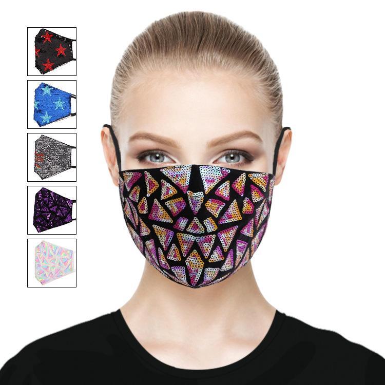 Летняя новая блестками хлопка маски для лица моды пыла солнцезащитного крема анти-ультрафиолетовая моющаяся многоразовая маску для лица 7 конструкции маски