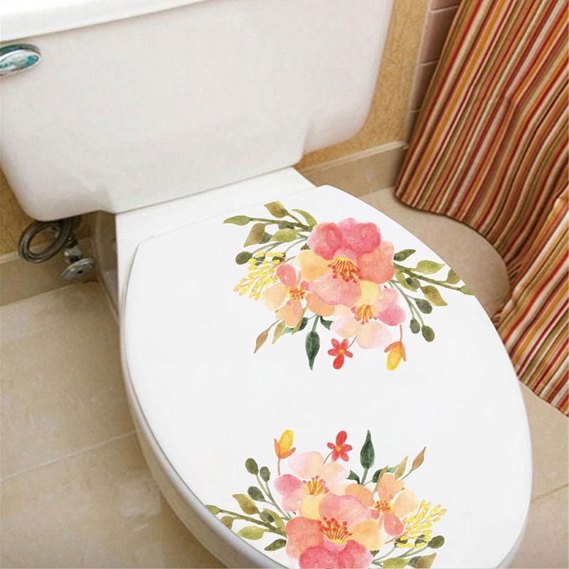Nuovo stile fiori colorati Rosa peonia Bella Muro Adesivi Adesivi Toilette Bagno Occhiali della decorazione della casa della decorazione della parete della decalcomania