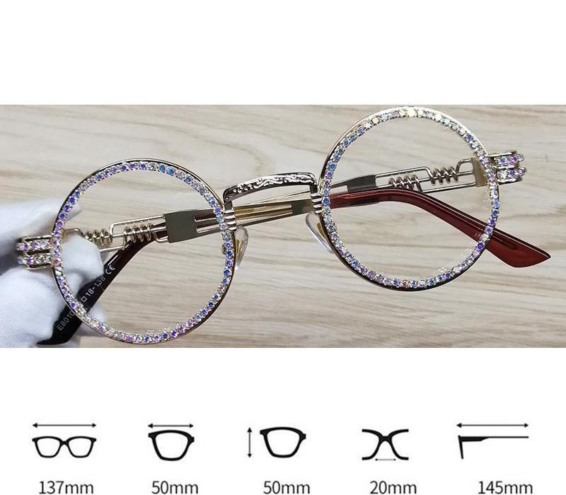 Lunettes de soleil rondes Steampunk Metal Frame strass lentille claire rétro cadre cercle Sunglasses00