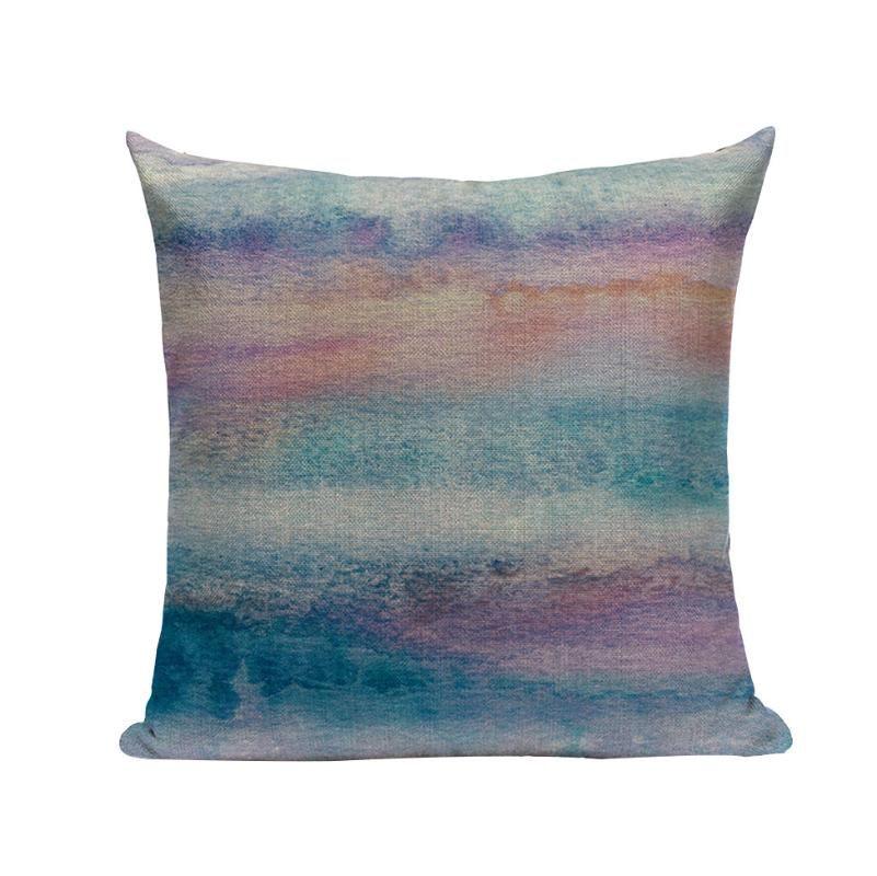 Lino cuscino tiro cuscino acquerello cuscino auto colore onde home onde cuscino art stripes cover porpora sofà decorazione astratta decor federa copertura secsi