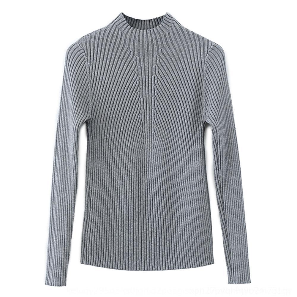 cvMNn SpmUN осень и тонкий стиль водолазка утолщенного свитер женской среднего воротник зима имп рубашка с длинным рукавом корейской половины весь матч твердым
