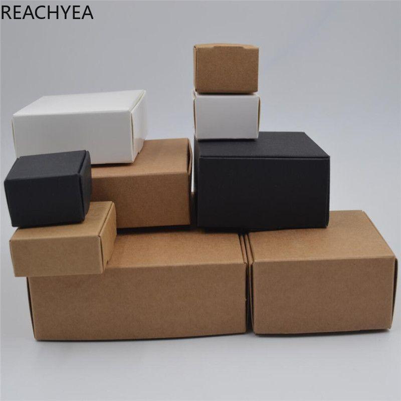 DIY Kraft Gift Box Белый / Коричневый / Черный Бумага Малый Soap Box Kraft картон Мини Ювелирная коробка упаковки 12Sizes