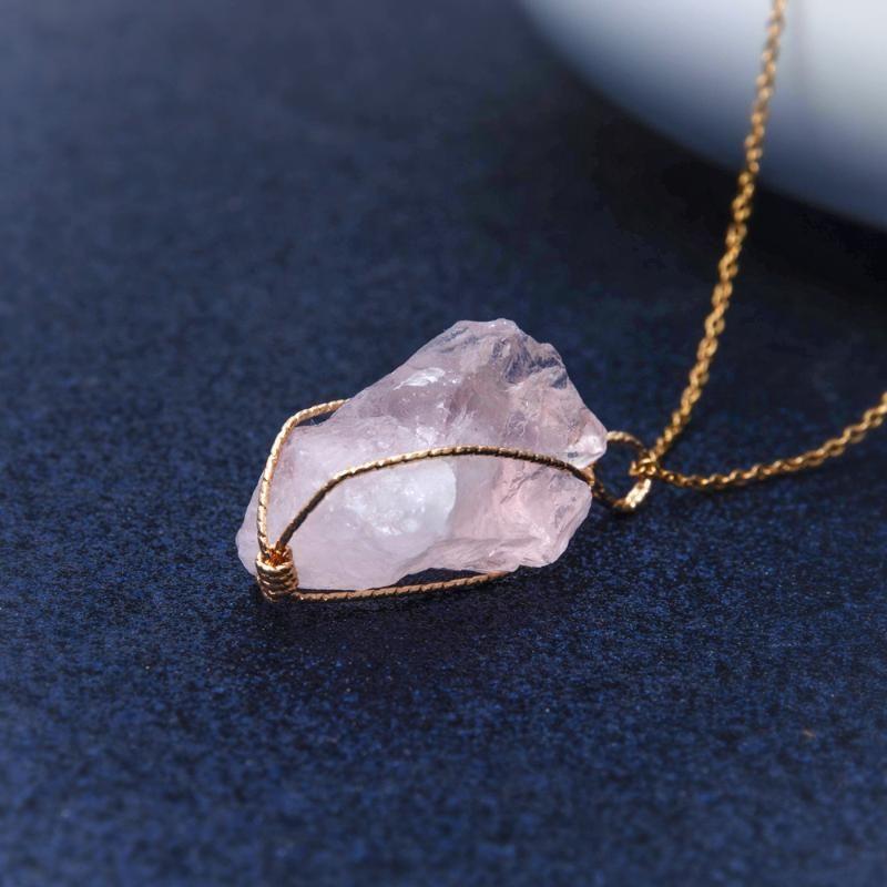 1PC Handmade Twining Irregular Pedra Natural pingente de cristal roxa Quartzo Rosa de pingente de cristal para mulheres