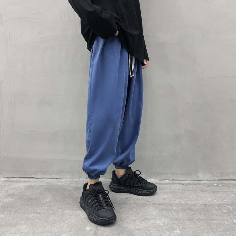 Allentati pantaloni potata solido pantaloni di colore di sport MRDONOO Uomo Piedi elastici Harem K199