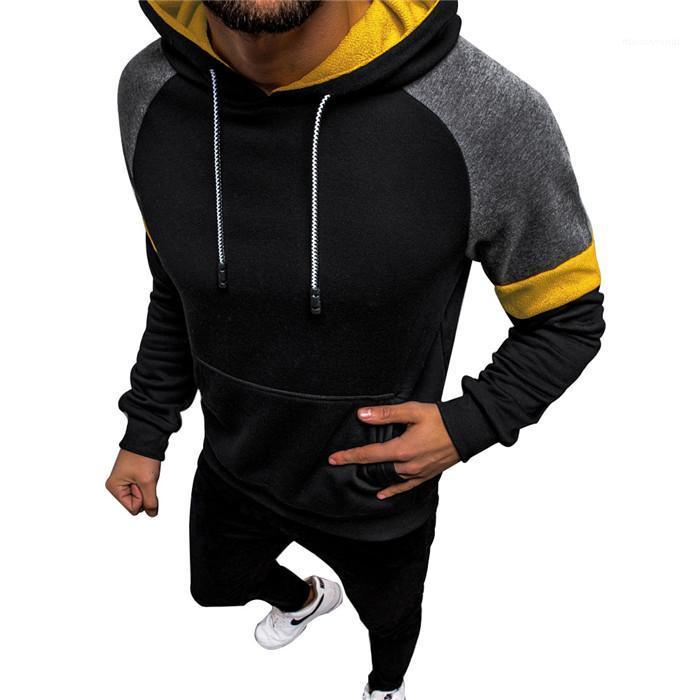 Sweat à capuche Casual en vrac Hommes Fitness Vêtements Hommes Patchwork Designer Sport Chemises Pull à manches longues causales