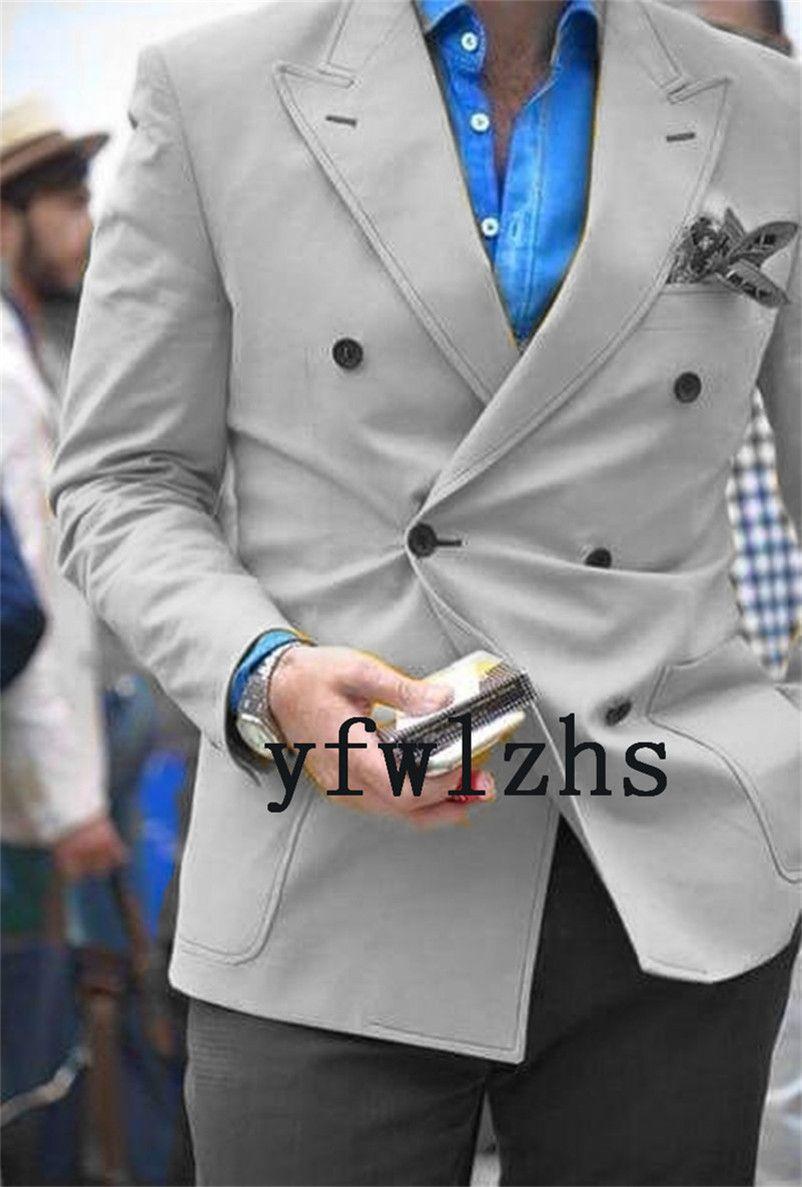 Populaire Double-breasted Groomsmen pic Lapel smokings marié hommes Costumes de mariage / Prom Best Man Blazer (veste + Pantst + Tie) Y166