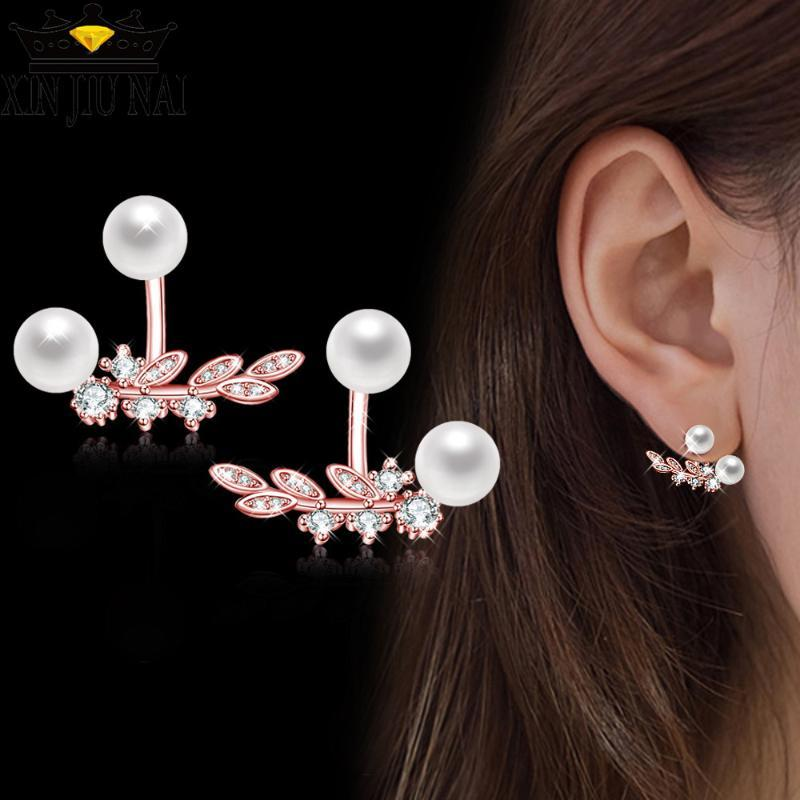 Top Mode Qualité 925 anillos Argent Boucles d'oreilles Zircon cubique pour les femmes cadeau cristal perle Accessoires Bijoux