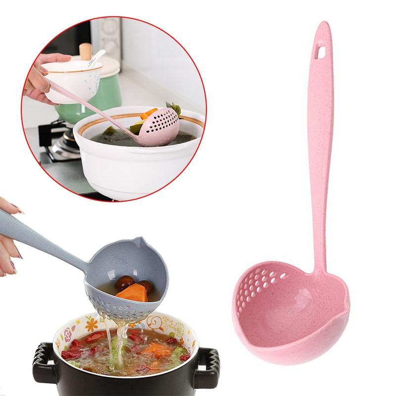 2 in 1 Hot Pot tavola Porridge Soup Spoon con filtro Skimmer utensile da cucina lungo manico Colander 4 colori