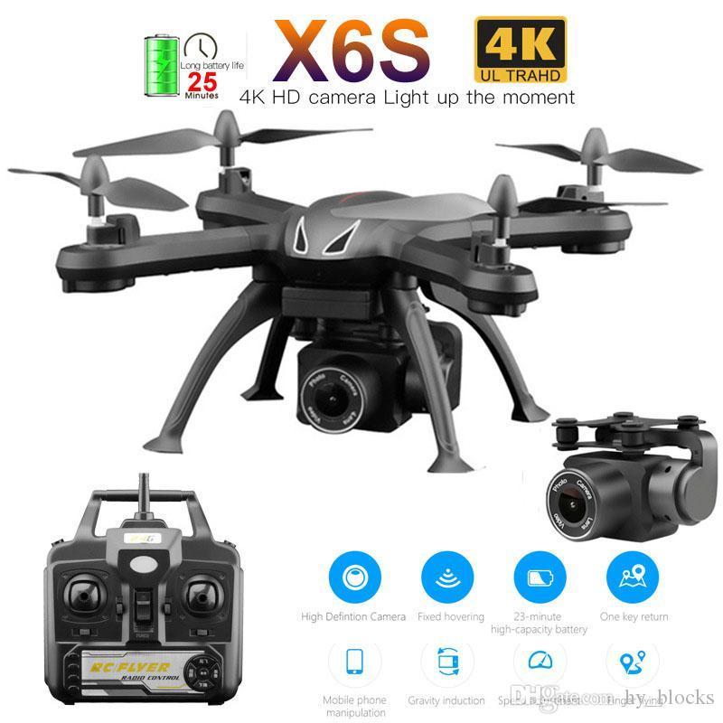 X6S RC aviones no tripulados 4K HD WiFi FPV Cámara Quadcopter aviones no tripulados de control remoto helicóptero Modo sin cabeza Altitud bodega del avión de juguete de regalo