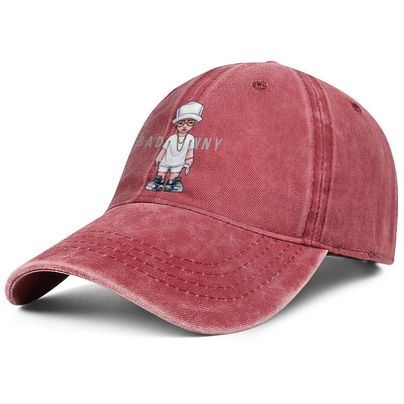 Мужчины Женщины Cute Bad Банни Мода Denim Бейсболка Прохладный Омывается папа Hat регулируемый Vintage Болл Superme Логотип