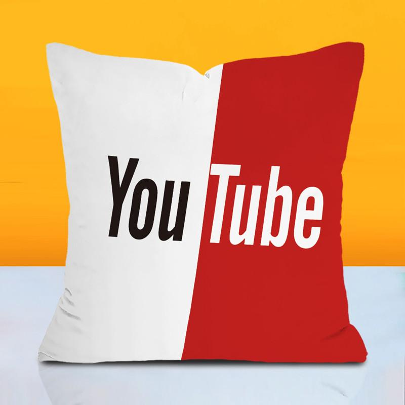 O YouTube logo logo espera fronha empresa vermelho a publicidade almofada personalizada para inclinando-se sobre a figura personalizada