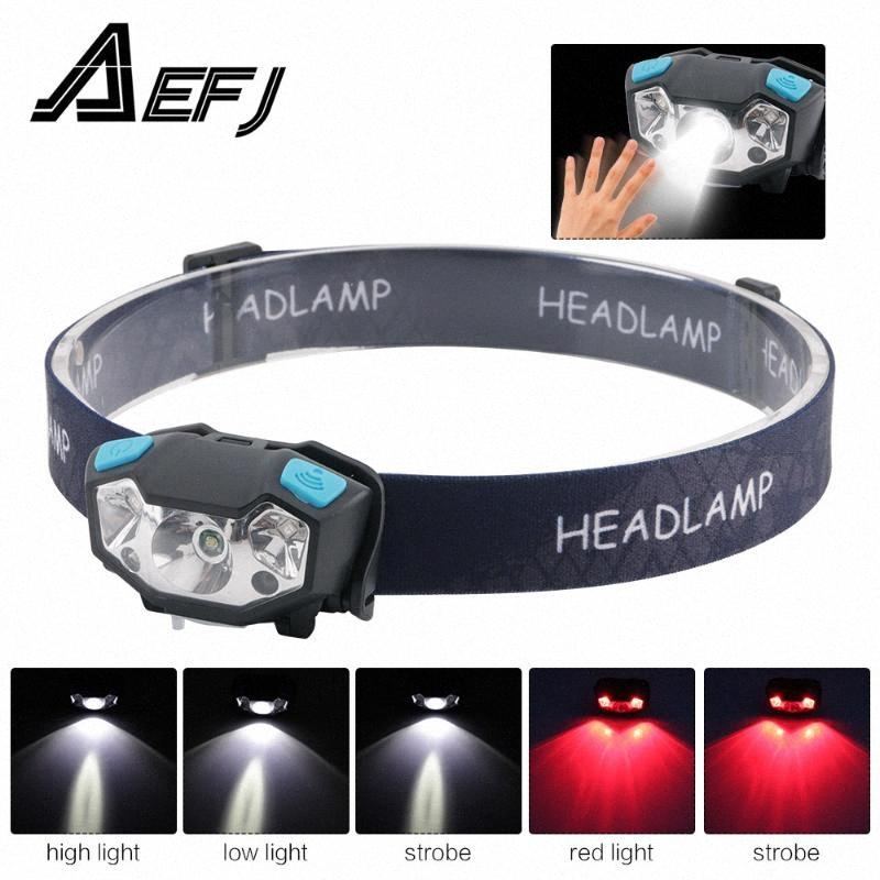XPE LED Rechargeable Headlamp White Red Finger Induction Headlights Head Light Lamp Torches Built In Battery b4m6#
