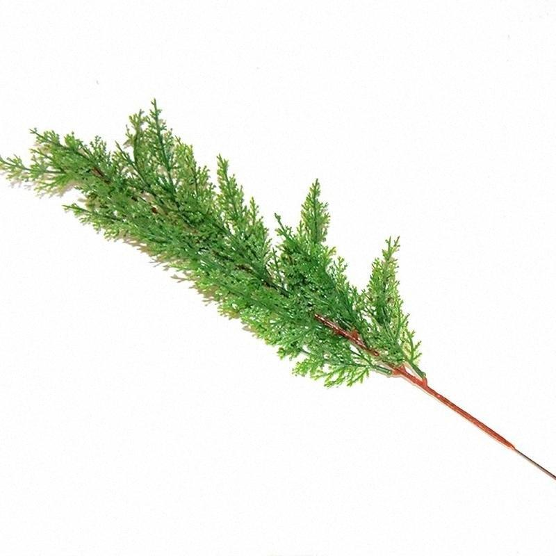 10PCS 모의 실험 사이프러스 나무 분기 가짜 인공 잎 싸이프레스 지점 장식 42cm 정원 사무실 발코니 잎 홈 파인 mnKJ 번호