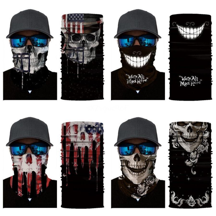 Outdoor Crânio Scarf máscara de caveira Variety Turban Face Magic Lenços de malha Headband Neck Bandanas Moda Multifuncional Ciclismo Ba # 18 # 595