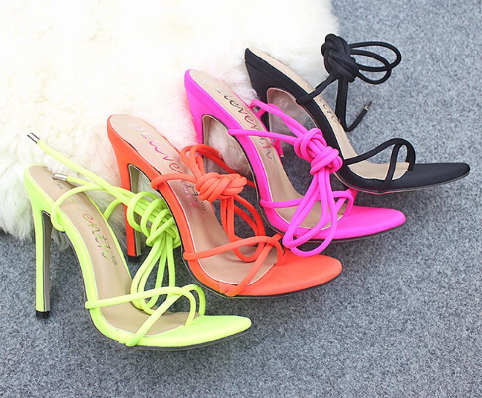 Sıcak stil şeker parlak renkli flip-Ayak bandı, yüksek topuklu ayakkabılar artı boyutu kadın ayakkabıları bayram hediyesi