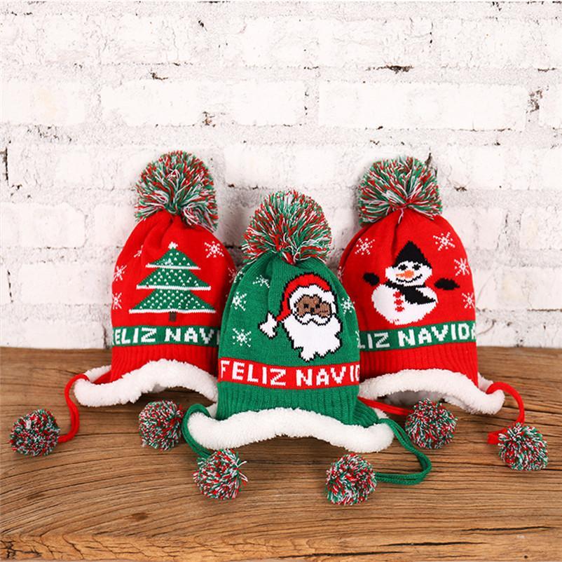 Baby Girls Boy Knit Hat Winter Warm Fleece Lined Beanies Letters Embroidery Beanies Kids Cap Christmas Ski Snow Hats Ear Muff Hats D91005