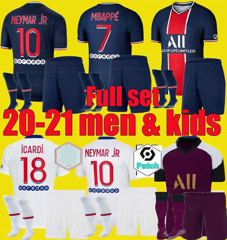 20 21 PSG저지 축구 유니폼 2020 2021 디 마리아 MBAPPE 네이 마르 남자 아이 JR은 ICARDI Maillots을 설정 축구 셔츠 키트 유니폼 드