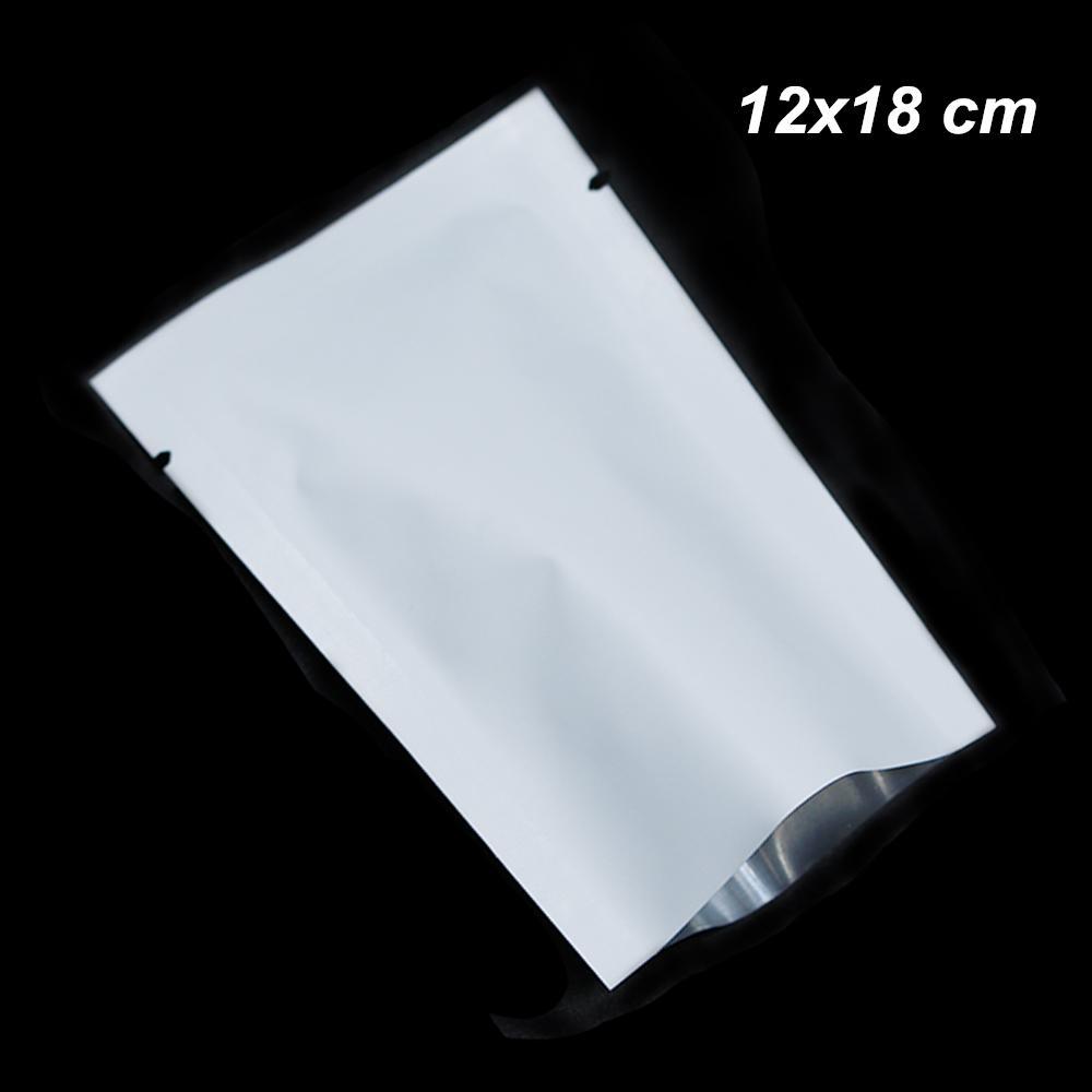 Blanco mate 12x18cm 100 piezas de la parte superior abierta puro vacío del papel de aluminio sellado caliente bolsas para Snack Food calor seco del lacre del papel de Mylar bolsa de almacenamiento de alimentos