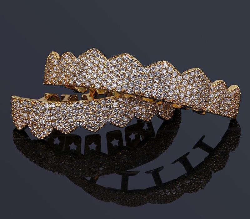 Hip Hop Bijoux Hommes diamant Dientes Grillz dents Or argent de luxe de Glacé Grills HipHop hommes Mode Jewlery