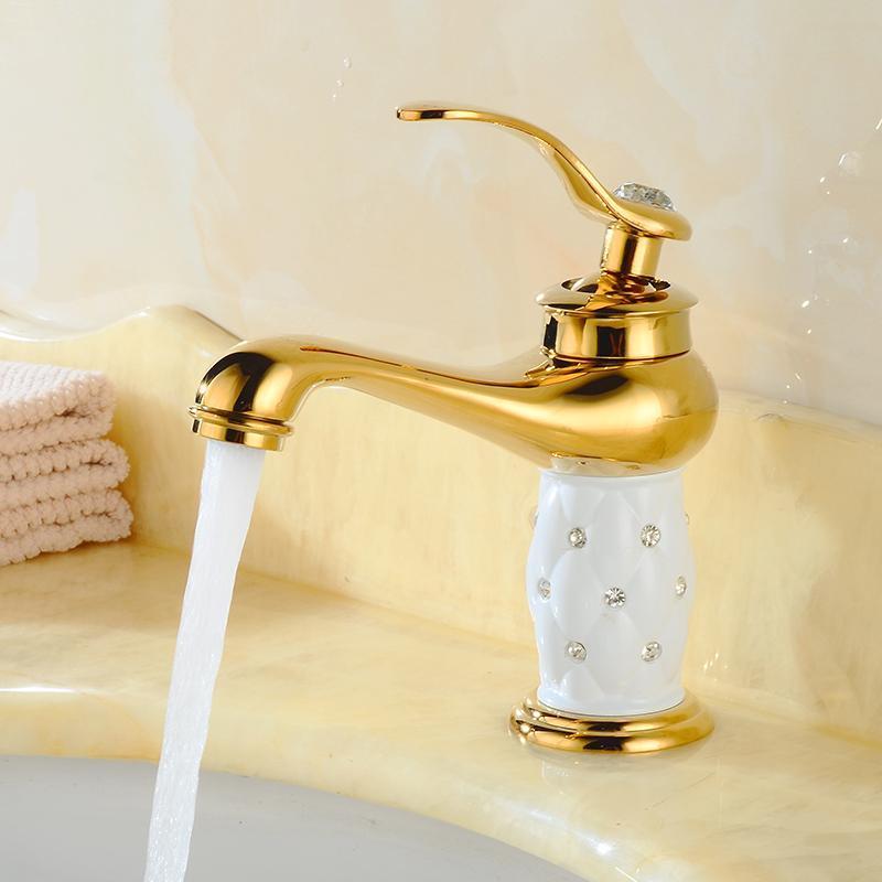 Bacia Torneiras de luxo Euro ouro com diamante Latão Feito banho Toque Mixer torneira Único punho Hot Fria lavatório torneira misturadora