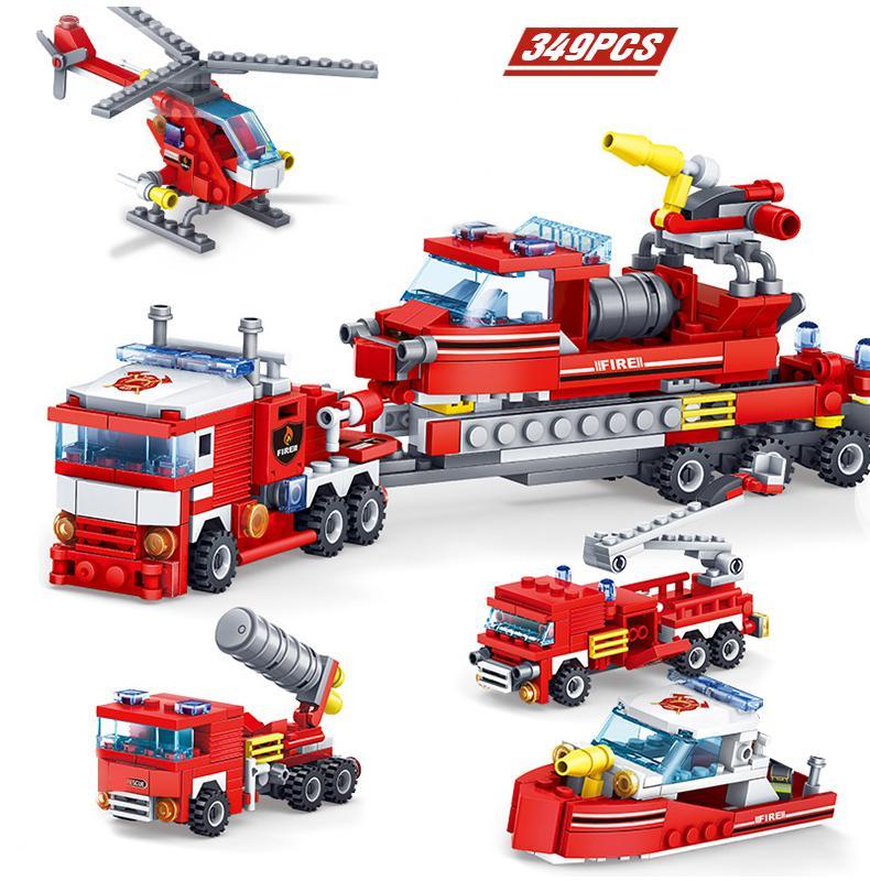2020 New Combate a Incêndio Caminhões Car helicóptero construção de barcos Blocos Compatível Cidade bombeiro Figuras Brinquedos