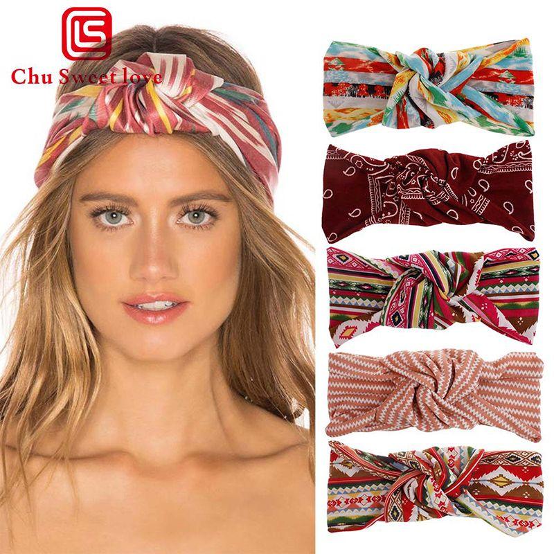 Девочка Bohemian Hairband Мода лето печати оголовье ретро крест бинт бинты Тюрбан Тюрбан оголовье аксессуары для волос