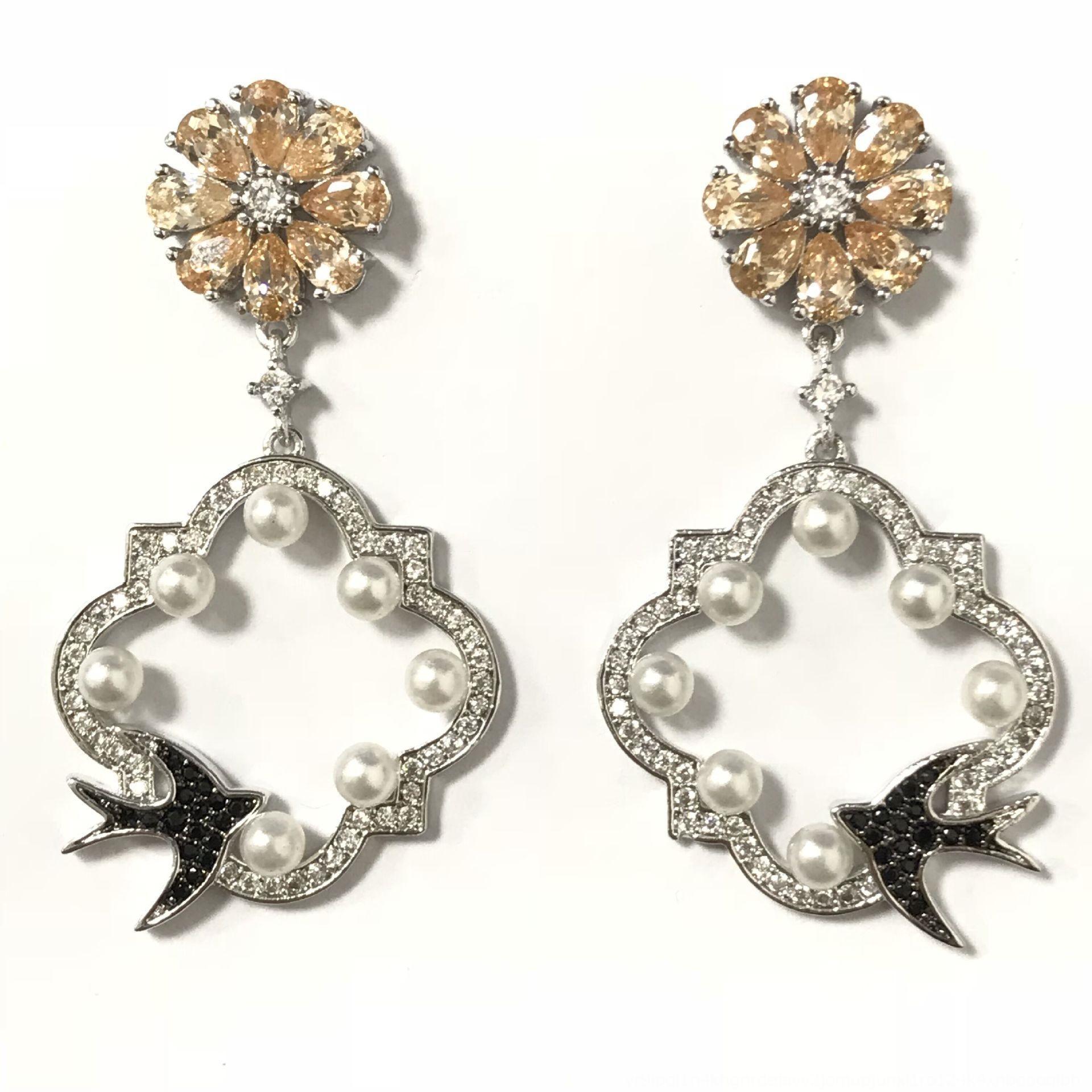 eyh6e Jardim Pérola e nova série elegante elegante prata esterlina Marigold janela de pérola brincos das mulheres andorinha brincos