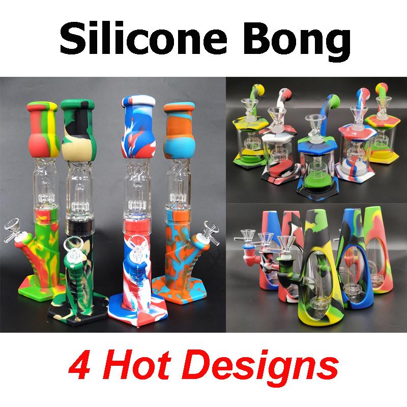 Silicone Bongs Percolators Perc Removable Straight Water Pipes Glass bong Smoking Bong With Glass Bowl Mini Bongs With Quartz Banger