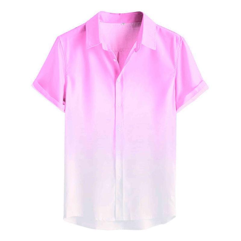 Camisas 슈 옴므 Camisa Masculina 1 개 남성 그라데이션 통기성 편안한 옷 깃 패션 캐주얼 남성 셔츠 셔츠