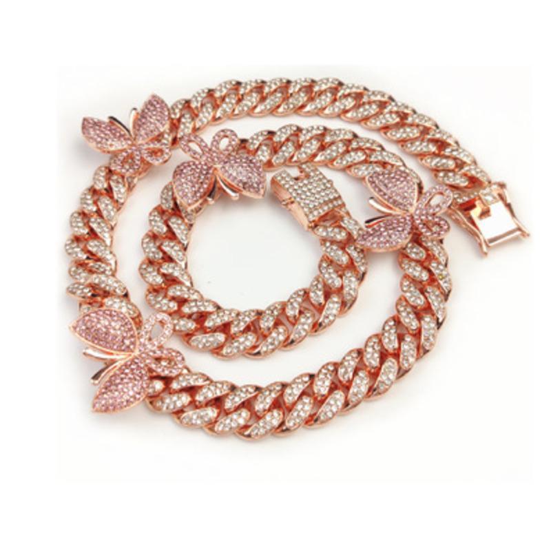 Gold-Silber-Farbe pink 3 Farben 5A Zirkonia kubanischen Kette Schmetterling Beinkette Fußschmuck Frauen Fußkettchen Sommer CX200704