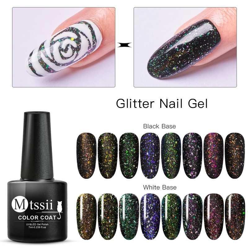 Mtssii Holographic Irregular Sequins Glitter Nail Gel Polish Laser Uv Gel Hybrid Multi-colored Soak Off Nail Art Varnish